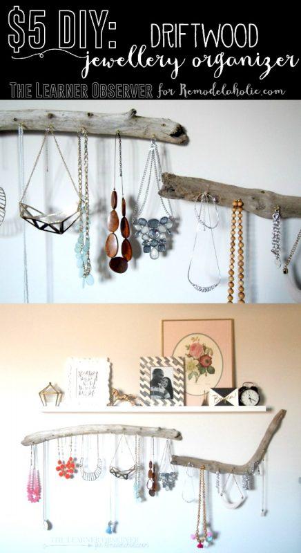 DIY Driftwood Jewelry Organizer @Remodelaholic 2