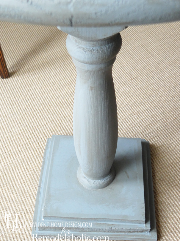 DIY Pedestal Accent Table showing Glaze