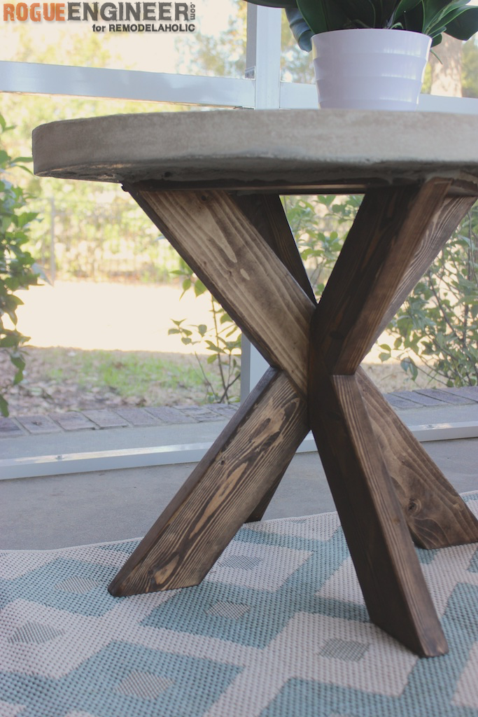 Perfect DIY X Brace Side Table with Concrete Top Rogue Engineer for Remodelaholic
