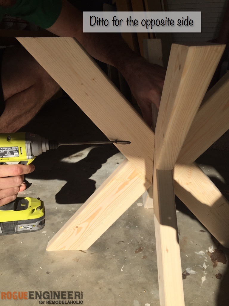 How to build a table base with 4 x 4 lumber - Diy X Brace Concrete Side Table Plans Step 8