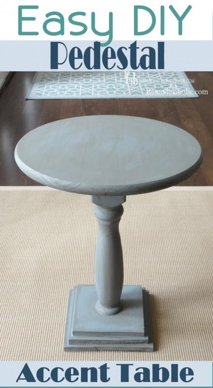 Easy DIY Pedestal Accent Table | Remodelaholic.com