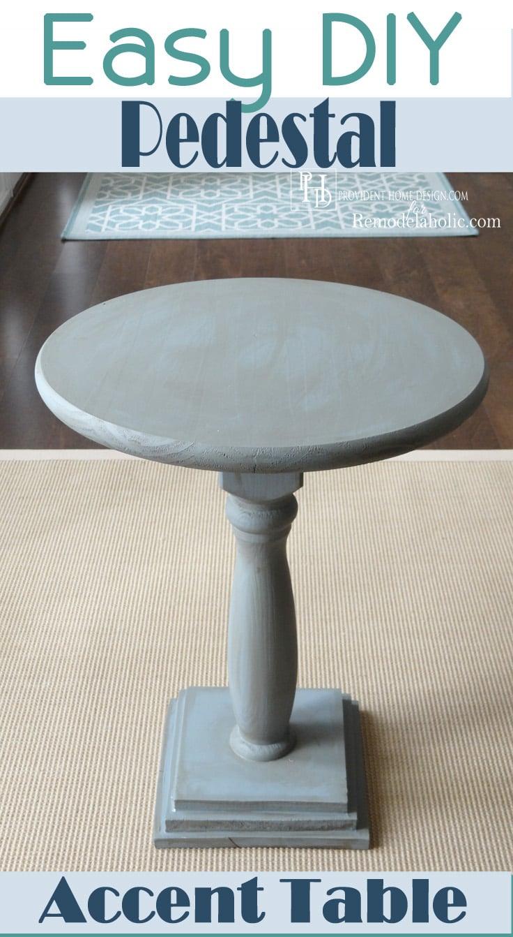 Lovely Easy DIY Pedestal Accent Table | Remodelaholic.com