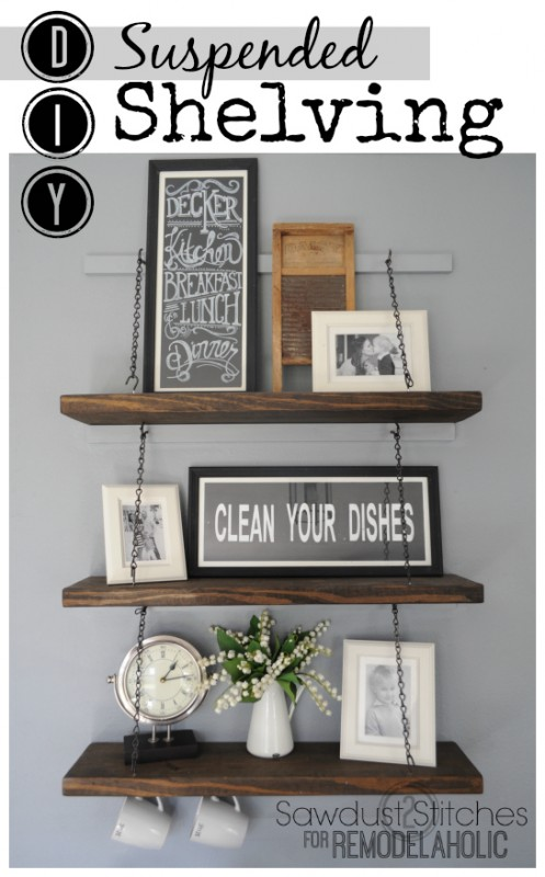 Easy DIY shelving by Sawdust2stitches for Remodelaholic.com