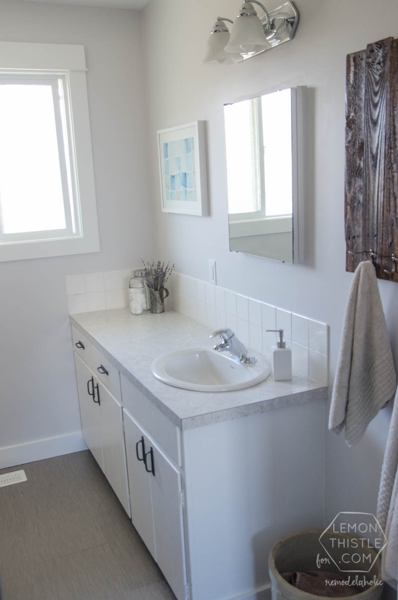 Inexpensive Diy Bathroom Remodel remodelaholic | diy bathroom remodel on a budget (and thoughts on