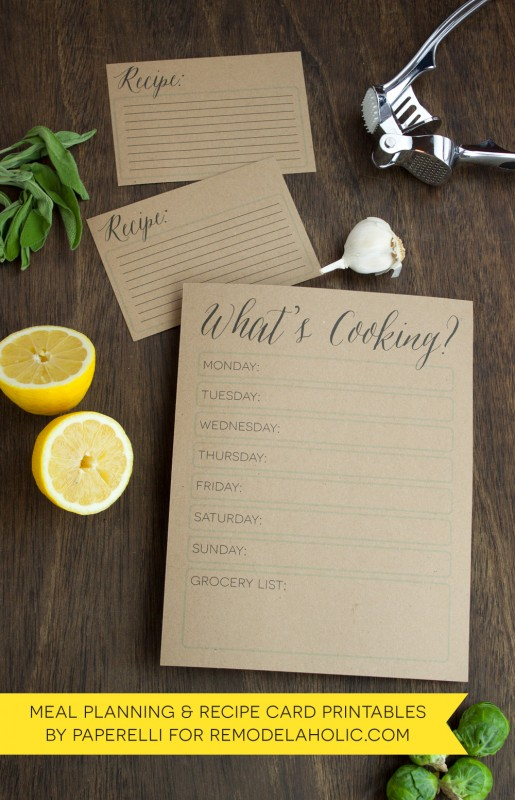 Meal Planning Printables: Weekly Menu Planner + Recipe Card by @Paperelli for @Remodelaholic