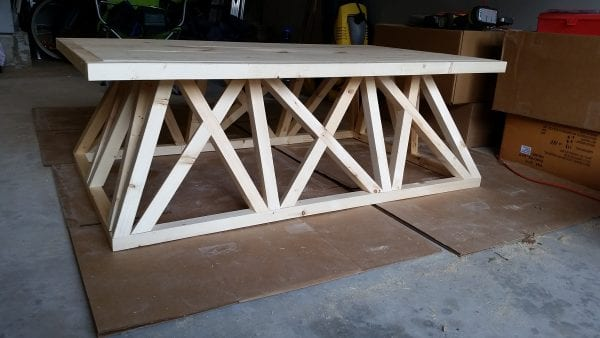 Restoration Hardware trestle door coffee table diy brag post, @remodelaholic.com