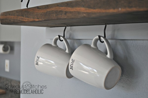 Suspended Shelving  Sawdust2stitches for Remodelaholic.com  mugs