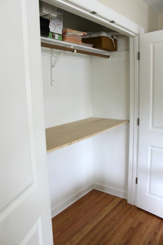 Transform a closet into a home office process1 - The Crazy Craft Lady featured on @Remodelaholic