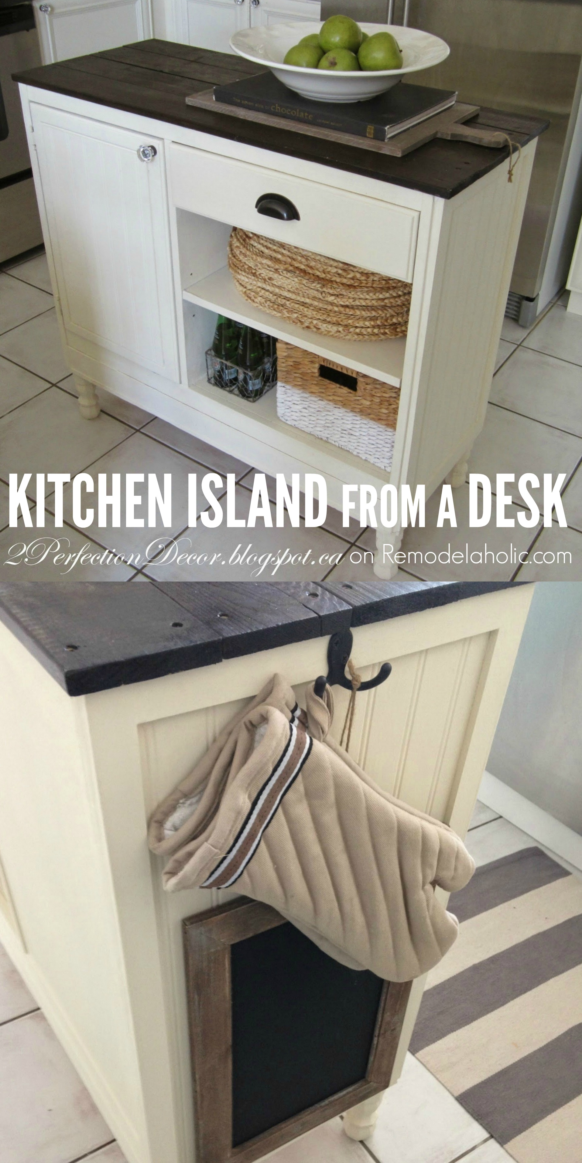 Remodelaholic Upcycled Vintage Desk Into Kitchen Island