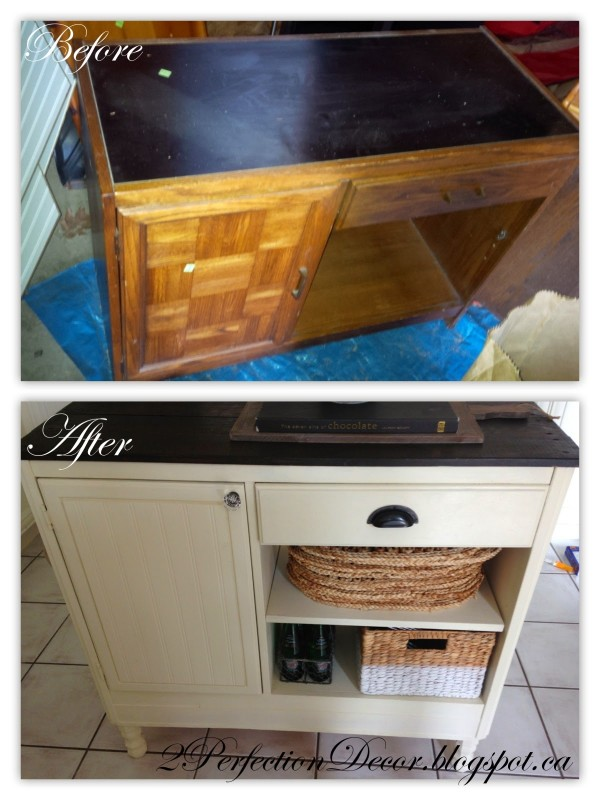 Upcycled Vintage Desk into Kitchen Island Storage by 2Perfection Decor featured on @Remodelaholic