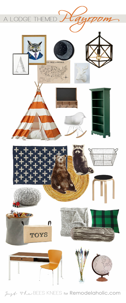 Perfect for outdoors loving little ones! This lodge-themed playroom is a great blend of kid function and grown up style. Full list of sources! Remodelaholic.com