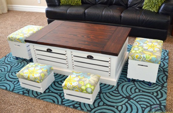 crate storage coffee table with stools Her Toolbelt