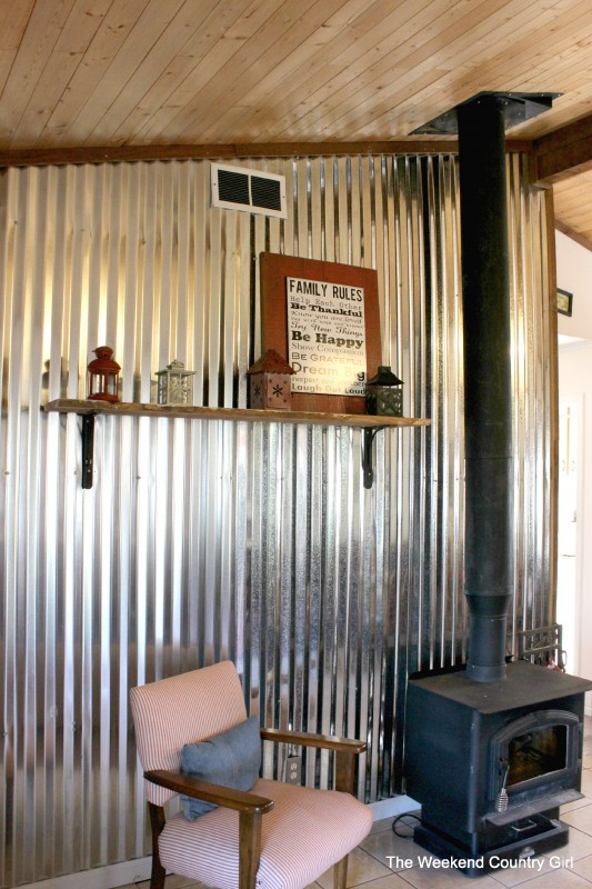 diy corrugated tin metal sheet wall - The Weekend Country Girl featured on @Remodelaholic