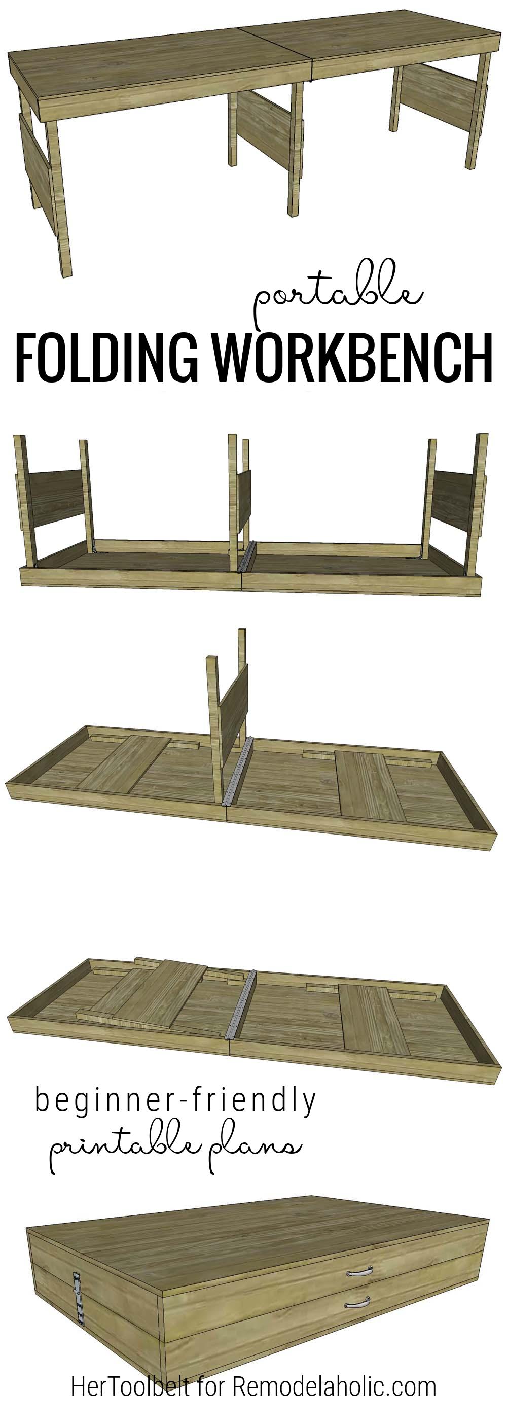 Diy Portable Folding Workbench Plans, Beginner Friendly, One Sheet Of Plywood, Remodelaholic