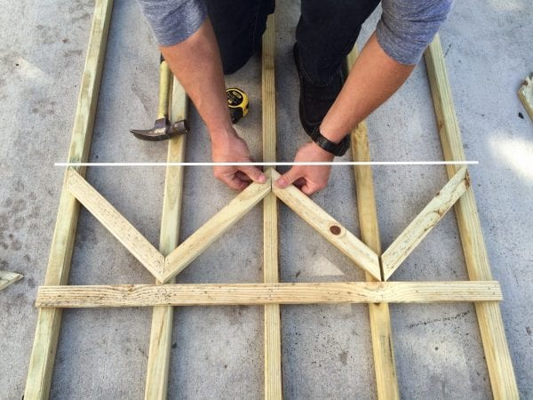 how to build a chevron lattice for garden plants, step 12 - Easter Avenue Co on @Remodelaholic