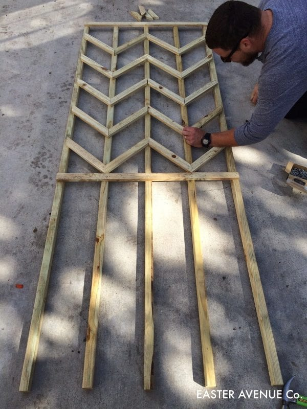 how to build a chevron lattice for garden plants, step 16 - Easter Avenue Co on @Remodelaholic