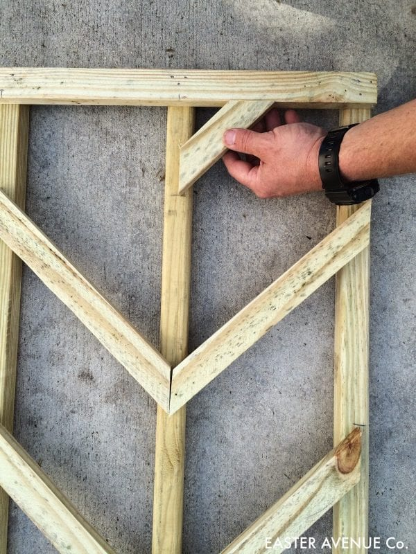 how to build a chevron lattice for garden plants, step 19 - Easter Avenue Co on @Remodelaholic