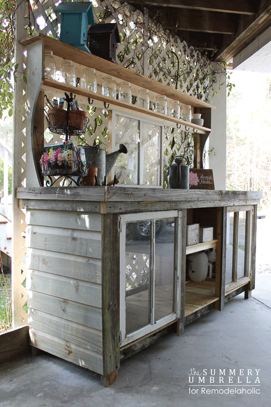 Remodelaholic How To Build A Potting Bench From Reclaimed Wood And Old Windows