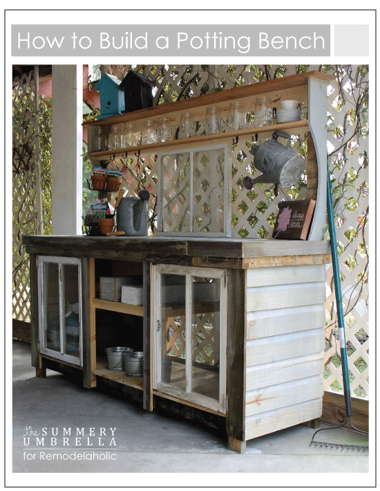 How to build an extra-large potting bench using reclaimed wood and old ...