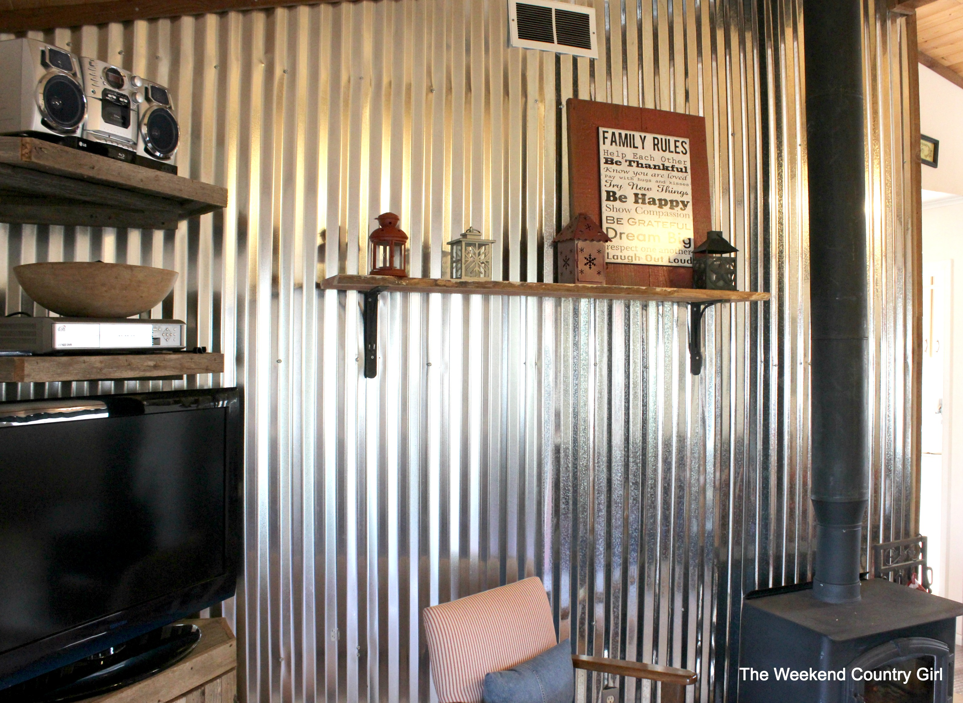 How To Install A Diy Corrugated Metal Wall Treatment The Weekend Country Featured On