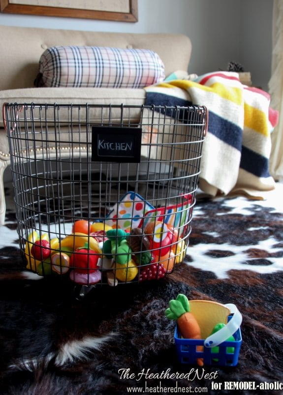 how to make your own wire baskets on wheels - The Heathered Nest on @Remodelaholic
