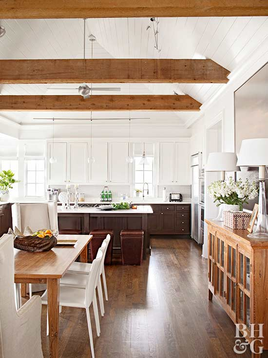 How To Mix Wood Tones, Light And Dark Wood Kitchen Via BHG