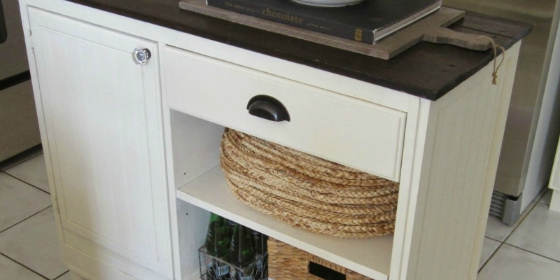 Upcycled Vintage Desk into Kitchen Island with Storage