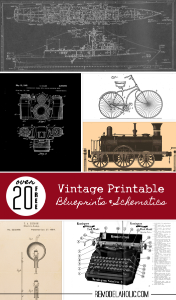 20+ Free Vintage Printable Blueprints and Schematics | Remodelaholic.com #printables #blueprint #art