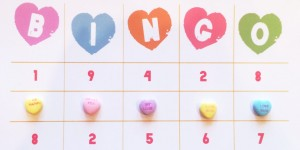 printable Valentine conversation heart bingo cards
