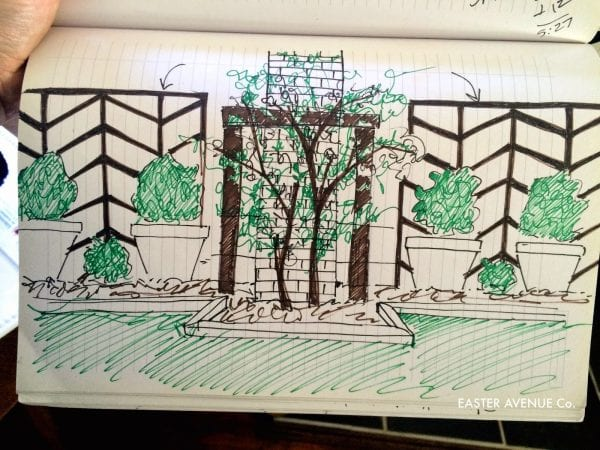 sketched DIY chevron lattice to add height to a garden - Easter Avenue Co on @Remodelaholic