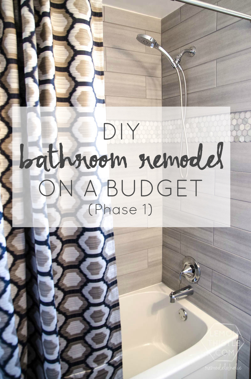 Remodelaholic DIY Bathroom Remodel On A Budget And Thoughts On - Diy shower remodel for small bathroom ideas