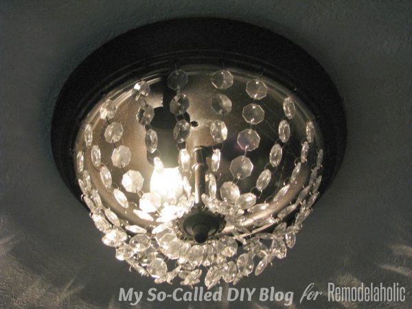 tutorial to make a flushmount boob light into a Pottery Barn knockoff Mia light with crystals - My So-Called DIY Blog on @Remodelaholic