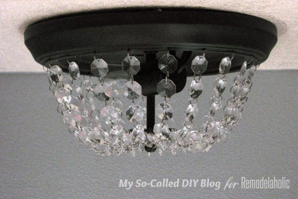 update a standard dome ceiling light to look like Pottery Barn Mia crystal flushmount, step 12 - My So-Called DIY Blog on @Remodelaholic