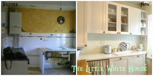 white kitchen before and after The Little White House on the Seaside