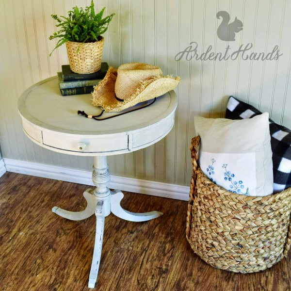 white painted drum table Ardent Hands Designs