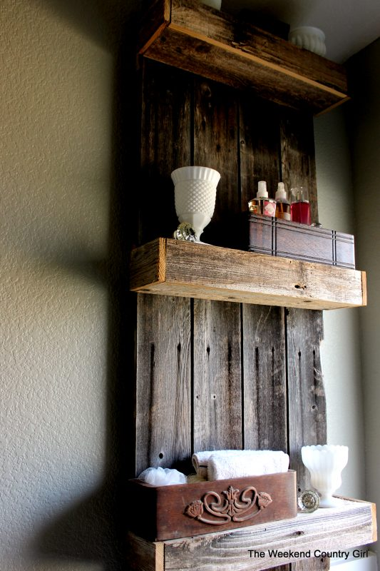 Bathroom makeover with Rustic Shelf by The Weekend Country Girl featured on @Remodelaholic