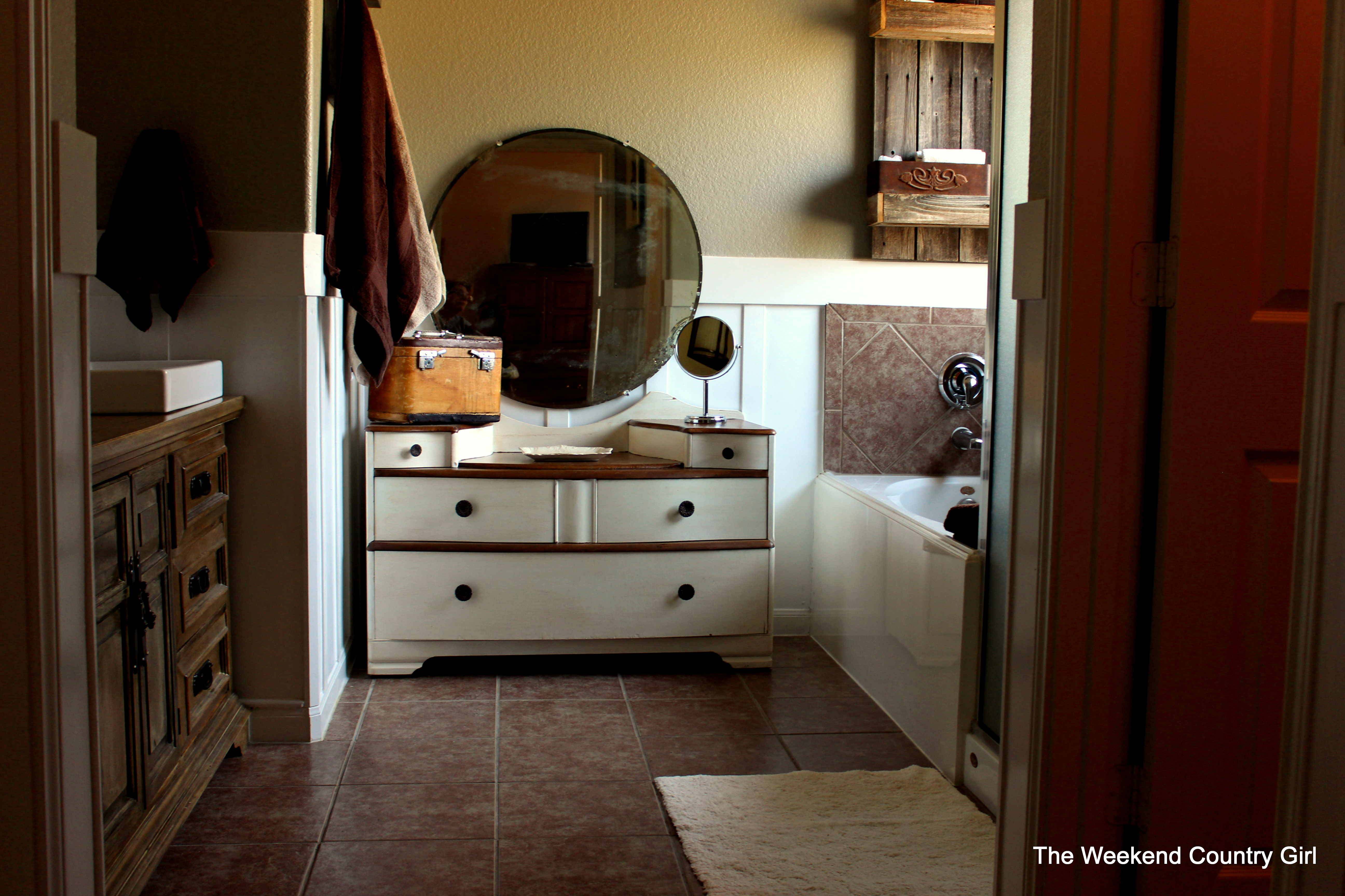 ... Bathroom Vanity With Drawers On Left Side By Remodelaholic Rustic  Bathroom Makeover With Board And ...