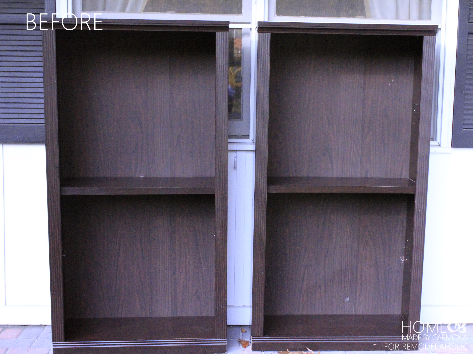 Bookcases Before  HMBC For Remodelaholic