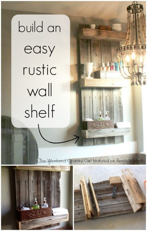 Remodelaholic build an easy rustic bathroom shelf for How to make wall shelves easy