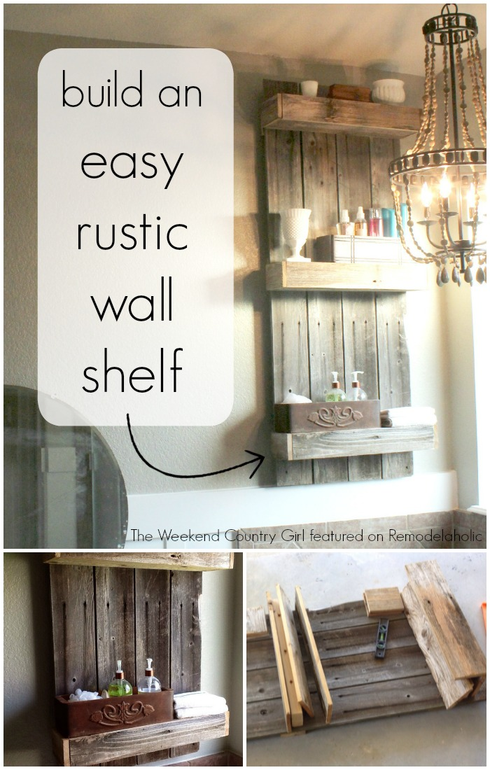 Check Out How Karen Built This Easy Rustic Wall Shelf For Her Bathroom And She Used Fencing Wood Insta Character