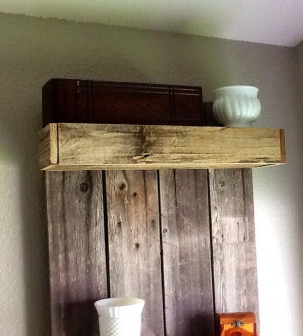 Build an easy shelf using reclaimed wood by The Weekend Country Girl featured on @Remodelaholic