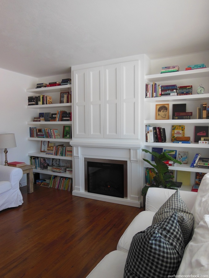 Custom Built In With Hidden TV By Our Home Notebook Featured On  Remodelaholic