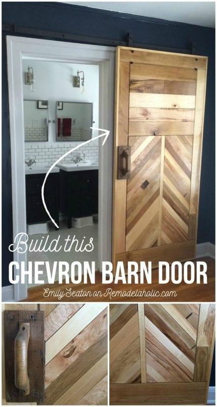 DIY Chevron Barn Door Building Plan and Tutorial on @Remodelaholic