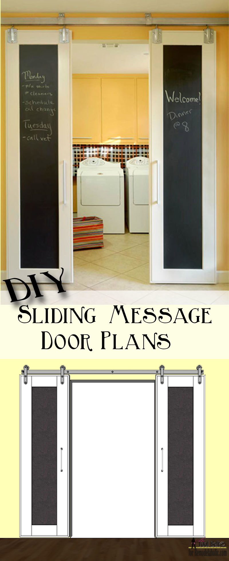 Double Sliding Doors remodelaholic | diy double sliding doors with chalkboard