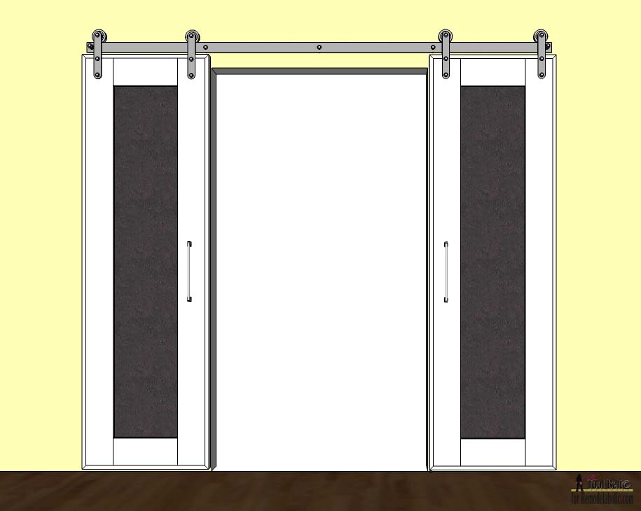 Remodelaholic diy double sliding doors with chalkboard for Double sliding screen door