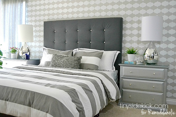 Vintage DIY Upholstered Headboard Tutorial TinySidekick for Remodelaholic
