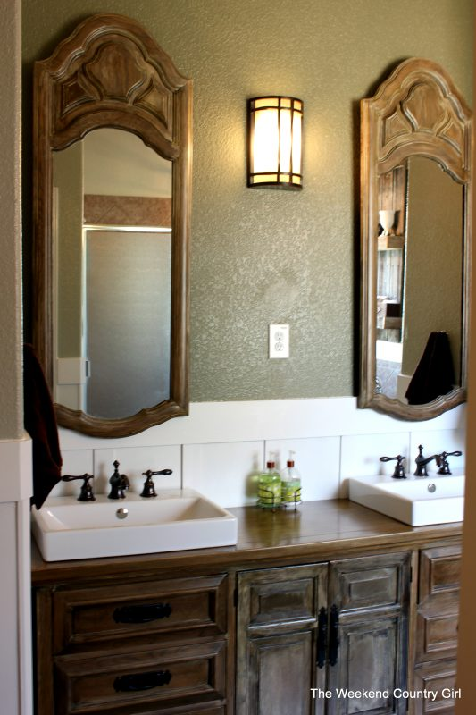 Marvelous Dresser turned vanity for a bathroom makeover by The Weekend Country Girl featured on Remodelaholic