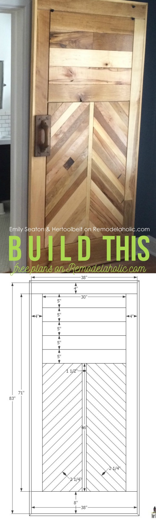 Free Reclaimed Wood Chevron Barn Door Building Plan and Tutorial on  @Remodelaholic - Remodelaholic How To Build A Wood Chevron Barn Door