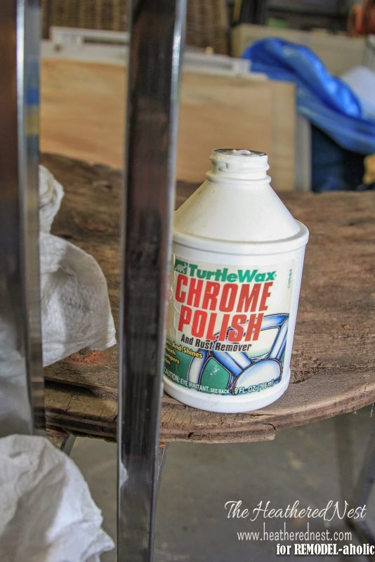 How to repair and refinish a rusty chrome 04 by The Heathered Nest featured on @Remodelaholic