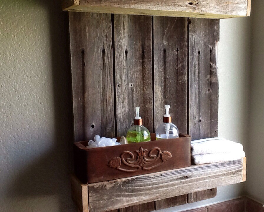 Remodelaholic Build An Easy Rustic Bathroom Shelf